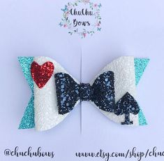 Alice in wonderland bow inspired Disney bow inspired handmade bow toddler bowhair clip glitter bow Diy Leather Bows, Disney Hair Bows, Bow Template, Hair Bow Tutorial, Baby Hair Accessories, Handmade Hair Bows, Felt Bows, Toddler Bows, Making Hair Bows