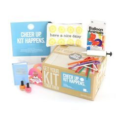 Cheer Up Kit: Nail Polish - Coral/Orange,Pep Talks and Picker Uppers, Balloon Animals, 1 pump and 1 sheet of stick-on eyes, Instructions included, Have a Nice Daisy Pouch