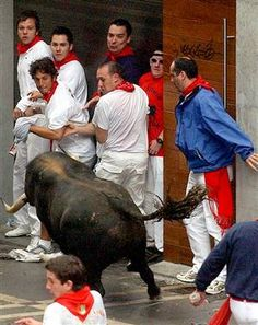 Bull run in Pamplona , Spain San Fermin Pamplona, Pamplona Spain, Places To Travel, Places To Go, Running Of The Bulls, Exotic Places, I Want To Travel, Spain And Portugal, Spain Travel