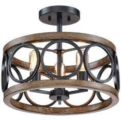 """Salima 16"""" Wide 3-Light Black and Wood Grain Ceiling Light - Style # 15Y89"""