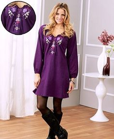 wear this womenu0027s embroidered knit tshirt dress for everyday casual occasions an eyecatching embroidered design at the center front adds a unique touch