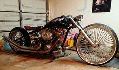 Low mile dirty south chopper single down tube rigid frame. Has a new from harley evo motor. New 5 speed trans, custom gas tank, custom, leather seat, custom Chopper, Big Wheel, Hot Bikes, Cafe Racer, Classic Bikes, Custom Bikes, Harley Davidson, Bobbers, Custom Leather