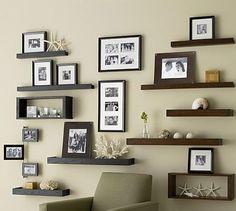 wall ideas using ledge frames | Family Wall Photo Display Ideas
