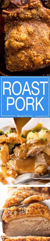 Pork shoulder roast Pork shoulder roast with crispy crackling. No scoring no pricking! Pork Roast Recipes, Meat Recipes, Cooking Recipes, Grilling Recipes, Drink Recipes, Dinner Recipes, Pork Shoulder Roast, Recipetin Eats, Recipe Tin