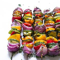 Easy Grilled Veggie Skewers - The Forked Spoon Bok Choy Recipes, Salad Recipes, Veggie Skewers, Protein Snacks, Vegan Snacks, Mojito Recipe, Fresh Lime Juice, Garlic Butter, Noodle Soup