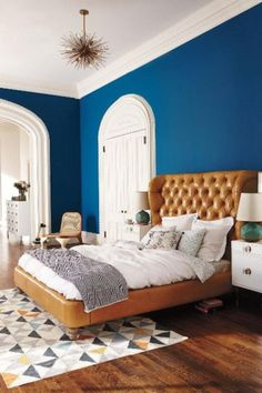 Don't care for the leather tufted wingback bed - But I ADORE the blue walls a moonlit ceiling Home Bedroom, Modern Bedroom, Bedroom Furniture, Home Furniture, Bedroom Decor, Bedroom Ideas, Bedroom Suites, Leather Furniture, Bedroom Designs