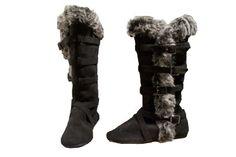 Amazon.com: Womens Fur Trim Four Buckle High Boot: Shoes