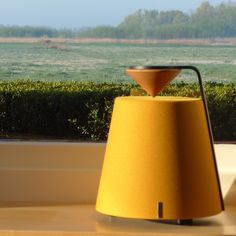 The Davone Mojo omnidirectional loudspeaker in ochre. Fills your room with music and color. Loudspeaker, Audiophile, Rum, Console, Wall Lights, Color, Home Decor, Musik, Appliques