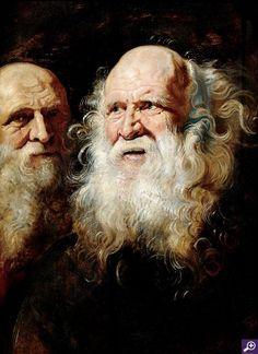 "Rubens (1577-1641); Study of Heads of an Old Man (c. 1612); Oil on oak panel; 26-1/2"" x 19-3/4""; Dayton Art Institute, Ohio"