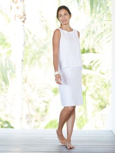 Pure Jill tiered linen dress