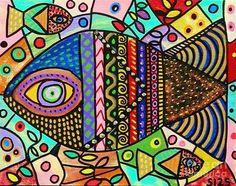 Wild Tribal Rainbow Fish Painting by Sandra Silberzweig