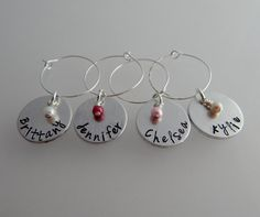 Hand Stamped Personalized Wine Charm with Name and Crystal Pearl Set of 4 / Bridal Shower / Wedding Party / Wine Lover / Wedding Favors