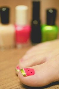 Watermelon pedicure! I might have to have them do this for me at the nail salon!