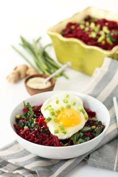 Crunchy Miso Beet Rice With Spinach and Egg