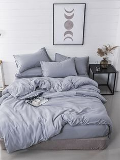 Shop Dark Gray Duvet Cover by AanyaLinen. This Dark Gray Duvet Cover helps to make your Ambiance so wonderful & colorful. Bedroom Inspo, Home Decor Bedroom, Bedroom Wall, Bedroom Curtains, Bedroom Apartment, Bedroom Furniture, Bed Sets, Bed Sheet Sets, Suites