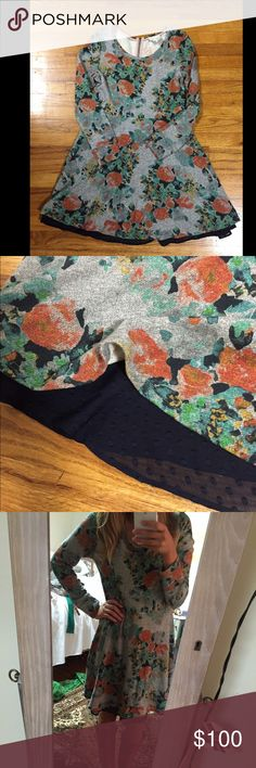 Perfect for Fall! Floral Dress 🎀 Brand is SaturdaySunday from Anthropologie. Never worn, navy polka lining sticks out of bottom, back zipper with tassel detailing. Anthropologie Dresses Midi