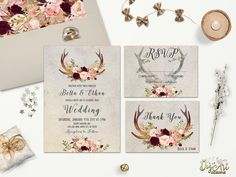 An easy way to have stylish wedding stationery on a budget is to use printable wedding invitations – we love this elegant woodland design from Digart Designs.