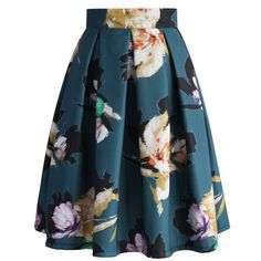 Chicwish Floral Illusion Pleated Skirt in Teal (€41) ❤ liked on Polyvore featuring skirts, bottoms, green, flower print skirt, floral knee length skirt, green chiffon skirt, floral chiffon skirt and chiffon skirt