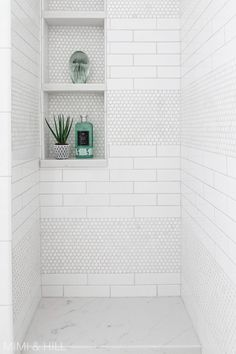 Dazzling Master shower remodel window ideas,Small walk in shower remodel ideas and Trailer shower remodel. Next Bathroom, Upstairs Bathrooms, Bathroom Renos, Bathroom Interior, Bathroom Ideas, Penny Tile Bathrooms, Condo Bathroom, Design Bathroom, Small Bathrooms