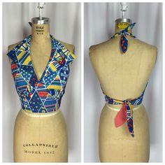Vintage Rockabilly Pin Up Collared Tie Back Halter Top   eBay