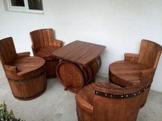 Poze Set 4 scaune + masa lemn masiv Design Case, Table, Furniture, Barrels, Skyrim, Garden Ideas, Home Decor, Wine, Decoration Home