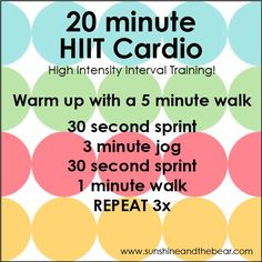 20min HIIT cardio fitness, running, walking, exercise, workout, cardio, HIIT. If you like it, repin it :-) #FastSimpleFitness  Like Us on: www.facebook.com/FastSimpleFitness
