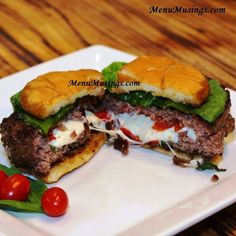 Menu Musings of a Modern American Mom: Caprese Burger : : She shows you how to make these on her site.  ❤ ❤ ❤