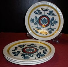 950 Stavangerflint (Norway) 4 Kon Tiki Side Plates by Inger Waage Stavanger, Side Plates, Norway, Porcelain, Ceramics, The Originals, Antiques, Tableware, Ebay