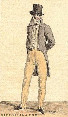 Regency Era Men's Fashion: tailcoat with squared cut away in front, circa 1812 - scroll down for link to free cravat pattern