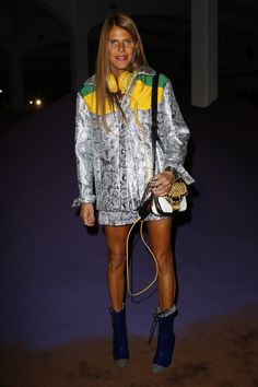 Anna Dello Russo in Miu Miu Fall 2014 - Front Row At Prada Spring 2015 #MFW