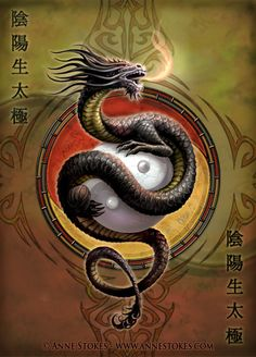 Dragon ~ Master of Mystical Fire ~ is the oldest and wisest spirit-animal, illuminating collective unconsciousness through lightning (by Anne Stokes)