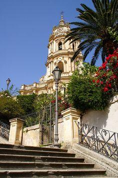 Modica Alta, St. George's Church, monumental staircase, Sicily, Italy