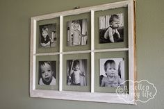 Been looking for actual instructions for this.  I was fretting with how to attach the photos, luckily this link has the info! DIY Antique Window Picture Frame by adollopofmylife