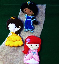 Princess felt play set characters.  Adorable by KustomEmbroidery, $15.00