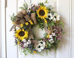 Summer Wreath for Front Door, Door Decor: Porch Decor, Cotton Wreath,  Anenomes, Sunflowers, Cotton and Wildflower Wreath