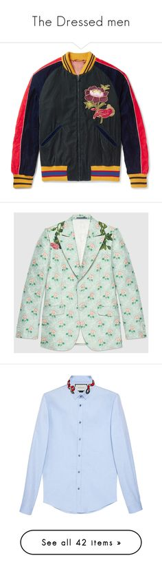 """""""The Dressed men"""" by jckyleeah ❤ liked on Polyvore featuring menwear, men's fashion, outerwear, jackets, green jacket, gucci jacket, jacquard jacket, flower jacket, bow jacket and men's clothing"""