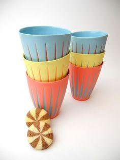 "Colored porcelain ""Contrast"" cups."