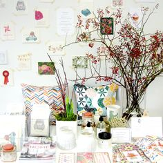 We carry a great selection of cards, most of them created here in Ontario. Love this winter display, with the cards on the wall via washi tape.