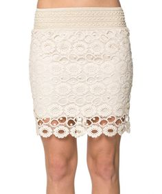 Look what I found on #zulily! Khloe Collection Beige Circle Lace Skirt - Women by Khloe Collection #zulilyfinds