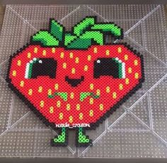 Original perler by me! The Berry from Cloudy With A Chance of Meatballs perler is about 10 inches by 8 inches. When ordering the Berry with the poster board, please send me what color/pattern you would like to have as the background. Easy Perler Bead Patterns, Melty Bead Patterns, Perler Bead Templates, Diy Perler Beads, Pearler Beads, Beading Patterns, Pearl Beads Pattern, Perler Bead Mario, Hama Beads Design