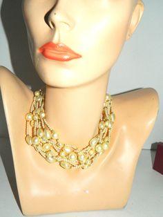 "Carolee Multi Strand Pearl Necklace 8 String Choker 14""-18"" #Carolee #StrandString"