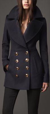 Burberry, cashmere pea coat.