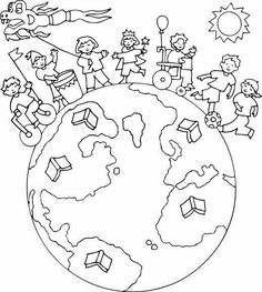 Colouring Pages, Coloring Pages For Kids, Coloring Books, Children's Day Activities, Harmony Day, Mandala, World Crafts, Child Day, Earth Day