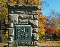 Cain Park Entry marker in Cleveland Heights. I used to walk down to the park when I had free periods at Cleveland Heights High. We used their tennis courts for gym class too. We went sledding on the hill. I even attended some art shows there. Pat Schwab