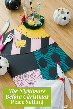 You simply can't plan a Halloween party without proper decorations. Have your little one and their best buddies dine in style with thisNightmare Before Christmas Place Setting. Channel your inner Sally and get to crafting with the kiddos — it's simply meant to be! Start with a Sally-inspired patchwork placemat, top your little one's cup with a spooky Nightmare wreath, and finish off with a Zero napkin.