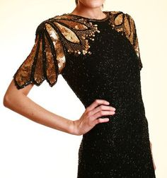 Sequined Gold & Black Deco Feather Trophy Dress - Small Or Medium