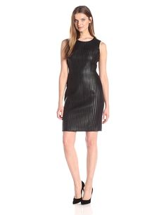 Calvin Klein Women's Sheath Dress with Faux Leather Strips >>> Special  product just for you. See it now! : black dress