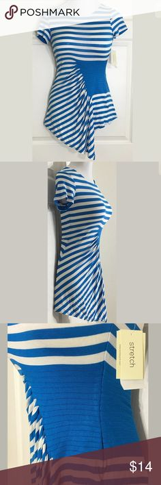 """ECI New York Striped Cap Sleeve Jersey Blue Top Super comfy asymmetrical hem stretchy top with cap sleeves. XS Bust: 36""""; XS Length in the back from the shoulder: 25"""". XL Bust: 29""""; XL Length in the back from the shoulder: 27 1/2"""". 96% Rayon, 4% Spandex. Machine washable. Smoke free home. 🌺Thanks for shopping my closet !🌹 ECI Tops Blouses"""