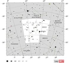 grus constellation,grus star map,crane constellation,grus location