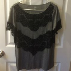 Grey with black lace top Super cute with black jeans/leggings longer length. Tops Tees - Short Sleeve